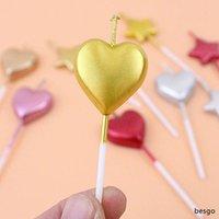 50PCS / الكثير قلب الشكل شمعة الحب شموع البسيطة شمعة كعكة عيد الميلاد ديكور شموع عيد الحب الديكور 5 ألوان بالجملة BH2694 DBC