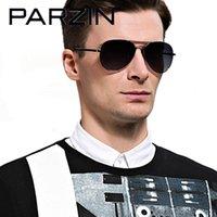 Óculos de sol Parzin Polarizado Homens Clássico Piloto Masculino Sun Óculos Gafas para Dirigir Preto 8023