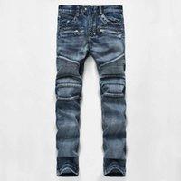 Erkekler Sıkıntılı Yırtık Skinny Jeans Moda Tasarımcısı Erkek Şort Kot Ince Motosiklet Moto Biker Nedensel Erkek Denim Pantolon Hip Hop Erkek Kot Pantolon
