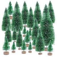 زينة عيد الميلاد 6.5 سنتيمتر إلى 16 سنتيمتر صغيرة مزينة شجرة وهمية الصنوبر مصغرة مصغر سانتا سنو تزيين المنزل