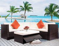 4 шт. Разрешенные наружные патио PE Rattan мебель набор секционного садового дивана (коричневый ротанг + бежевая подушка) SH0026AAA