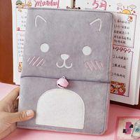 메모장 플러시 고양이 노트북 일기 도서 편지지 여행 플래너 기능 메모장 소녀 저널 카드 홀더에는 80 장의 종이가 들어 있습니다.