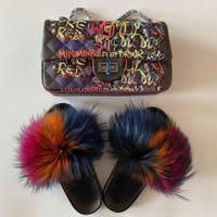 Женщины меховые тапочки обувь сумка набор пушистые реальные лисы меховые скольжения пушистые меховые флип флоп женщина граффити сумка радуга кошелек обувь набор