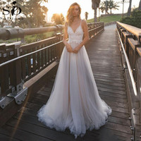 SoDigne S Sexy bretelles spaghetti dentelle Top dos nu Tulle Robes de mariée Vintage dentelle blanche robe de mariée
