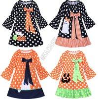 Kızlar Elbiseler INS Cadılar Bayramı Uzun Kollu ilmek Bebek Giydirme Patchwork Renk Siyah Polka Dot Karikatür Kabak Elbise Parti Kostüm d82501