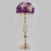 70cm Rhinestone Candelabra Wedding Party Elegant Candle Holder Pretty Table Centerpiece Vase Stand Crystal Candlestick Wedding Decor EEA1906