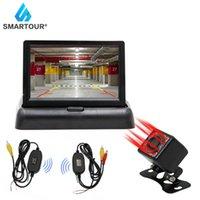 4.3 polegadas Car Invertendo câmera sem fio Kit Back Up Monitor de carro LCD IR HD Câmara de visão traseira Estacionamento transmissor Sistema
