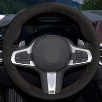 Auto Lenkradbezug Schwarz Suede Für BMW M Sport G30 G31 G32 G20 G21 G14 X3 G15 G16 G01 X4 G02 X5 G05 Handgenähtes