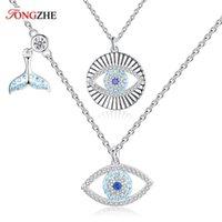 Cadenas Tongzhe Fishtail Lucky Eye Eye CZ 925 Collar de plata esterlina Mujeres Azul CRISTAL Colgante Pavo Joyería al por mayor Lotes a granel