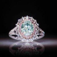 여성 럭셔리 우아한 블루 모조 다이아몬드 반지 라운드 핑크 크리스탈 신부 약혼 보석 Anillos Mujer를 들어 결혼 반지