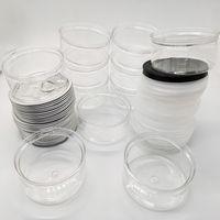 Latas de plástico Tin Plastic Food Jar 100ML seco flor mel Packaging seco Herb armazenamento OEM etiqueta 3,5 g Smellproof alumínio PE-Lid claro-bottle