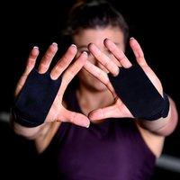 Suporte de pulso Grip de aperto de mão 2 pcs de couro ginástica guarda palma protetores de palma luva puxar para cima bar de levantamento de peso de peso