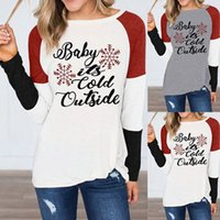 Christmas T- shirt It' s Cold Outside Letter Print Snowfl...