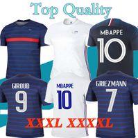 XXXL 4XL 2021 Francia Jerseys Home Away Zidane 18 19 20 21 Grizmann Soccer Jersey Pogba Football Shirts Pavard Kante Mbappe Mailleot De Foot