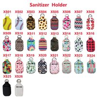 26 cores Neoprene Hand Sanitizer Bottle Titular Keychain Bags 30ML 10.3 * 6cm Key Rings Mão Titular sabão Bottle