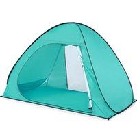 Lixada Tente de plage ouverte Tente automatique jusqu'à la plage Abri Revêtement anti-UV pour 3 personne Protection UV UPF50 ombre Camping