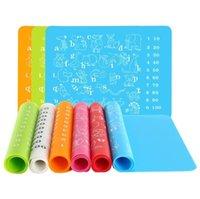 سيليكون الحصير الاطفال التعليمية الكتابة اليدوية حصير ملون مكان حصيرة الأبجدية الحيوانات الوسادة حجم 30 * 40 سم متعددة الأغراض الجدول حصيرة