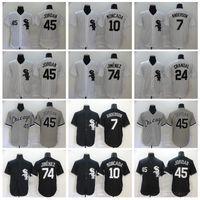 2020 мужчин бейсбол 10 YOAN MONCADA JERSEY 79 JOSE ABREU 7 TIM ANDERSON 24 YASMANI Grandal Home Black White All Stetheced Pinstripe FlexBase