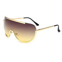 New Oversize Sunglasses Shield Big Frame Alloy One Piece Sexy Cool Sun Glasses Women Gold Clear Eyewear Gradient