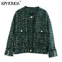 KPYTOMOA Kadınlar 2020 Moda ile Düğmeler Yıpranmış Tweed Ceket Coat Vintage O Yaka Uzun Kollu Kadın Dış Giyim Şık Tops Pockets