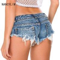Seksi Kadınlar Ganimet Arsız Denim Mikro Mini Sıcak Şort Kot Düşük Bel Disco Dans Skinny Kısa Hotpants Clubwear Lady Nancylim