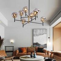 Bola de vidro Nordic Candelabro Iluminação Hanging LED bolha lâmpadas quarto moderno de jantar Cozinha luminárias Home Decor Luminaire