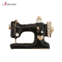 Pins, Brooches Amorcome Sewing Machine For Women Girls Collar Lapel Pins Metal Rhinestone Black Enamel Brooch Jewelry Christmas Gift