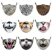 US STOCK Dust Mask Digital Printing Hot 3D animal Tiger Leapard mouth guard adult men women Halloween filter respirator outlets Printed Mask