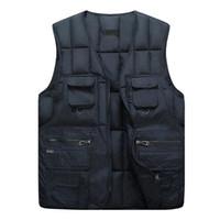 Gilets pour hommes 2021 Hommes sans manches Winter Coton Vest Coffret Zipper Up Casual Poches Solides Casual Solide Mâque Mode Mode Homme Workwear D40