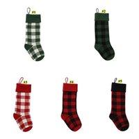 니트 크리스마스 스타킹 버팔로 체크 크리스마스 스타킹 격자 무늬 크리스마스 양말 사탕 선물 가방 실내 크리스마스 장식 owe3031