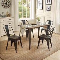 Vintage europäische amerikanische Massivholz-Metall-Speisen-Sets U-Style 5-Stücke, 1 Tisch mit 4 Stühlen Küchenmöbel SL000024DAA