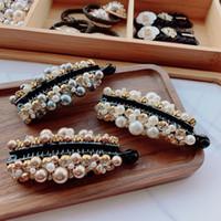 Main enveloppée perles imitation exquis Banana clip Corée Doux Simple Mignon Pince à cheveux pour les femmes Mode Accessoires cheveux
