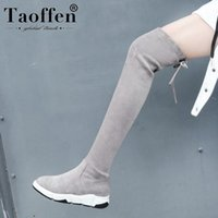 Taoffen Women Luxury Stretch Boots Winter Thick Sole Black Over The Knee Boots Zipper Sexy Daily Shoes Woman Size 34-39