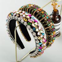 Delicada venda cristalina colorido barroco completa para la fiesta de la boda del Rhinestone de la mujer hechos a mano acolchada Hairband Mujer principal Piezas