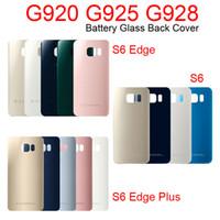 Samsung Galaxy G920 G925 G928 Geri Kapı Pil Konut ile Sticker S6 Kenar Artı Pil Cam Arka Kapak G920F G925F için 50pcs / lot
