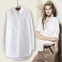 RICORIT Kadınlar Uzun Bluz Kadınlar Beyaz Gömlek Ofisi Bayan% 100 Pamuk Gömlek Casual Pamuk Bluz Moda blusas Femininas 200923