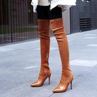 Stivali 2021 Inverno sopra il ginocchio Donne Stretch Tessuti Tacco alto Slip on Shoes Shoes Poted Toe Donna Long Size 34-43