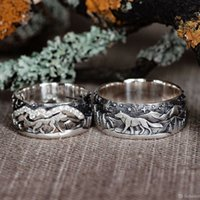 Vintage S925 Silver Plated Wolf Walking Forest Band Ring For...