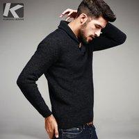 KUEGOU Sonbahar Erkek Kazak% 100 Pamuklu Örme Siyah Renk Marka Giyim için Man'ın Slim Fit Triko Erkek Giyim Kazaklar 15827