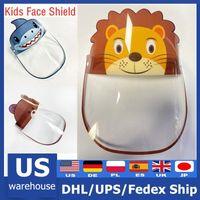Горячие США Stock Защитные Kid Face Shield Face Shields маска Рот Маски против капель противотуманно пыленепроницаемом прозрачный пластик Мальчик в девочке Детское