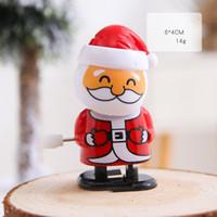 Noël en plastique Windup Jouet Père Noël bonhomme de neige Clockwork Jouets enfants saut cadeau personnages de dessins animés Modeling Cadeaux de Noël GGA3756-7