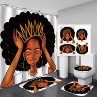 Mujeres Americanas con Crown Ducha Cortina Afro Africa Muchacha Queen Princesa Cortinas de baño con alfombras Conjunto de tapas de asiento de inodoro