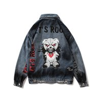 Graffiti Hole Cartton Bear Jeans Jacekt Men and Women Lapel Washed Retro Oversize Denim Coat Windbreaker Hip Hop Bomber Jacekts