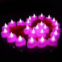 LED de luz de las velas de cumpleaños fiesta de la boda del partido de Navidad de Halloween luces decorativas redondas de flash en forma de corazón 24 PC / T500111 conjunto