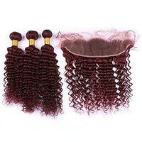 haces de pelo de colores 99J de color burdeos onda profunda cierre virgen pelo indio frontal del cordón con 13 * 4 haces