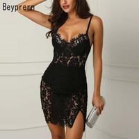 Beyprern Boho Sexy Спагетти ремень черного кружева Мини платье женщин летнее платье в стиле ретро выдалбливают Кружева Лоскутная Party Club