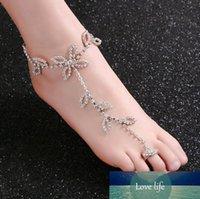 Moda strass nuziale piede la catena del calzino Charms le dita dei piedi d'argento del trifoglio del foglio disegni dei monili corpo per Beach Wedding all'ingrosso