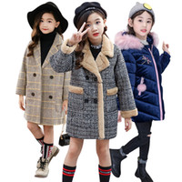 2020 Autumn Winter Girls Hairy Coat Fashion Design Long Coat for Girls Kids Outerwear Grid pattern 4 to 12 years old LJ200828