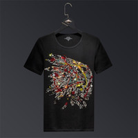 2019 Indiens strass T-shirts manches courtes Hommes Marque Mode Homme Streetwear O Neck Slim Modal Cotton T-shirts Grandes Tailles 6XL 0921