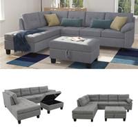 Luxus Moderne europäische und amerikanische weiche Sofabetten Set mit Chaiselongue und Lagerung Ottoman Nagelkopf Grau Wohnzimmer Möbel ST000004A